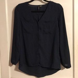 H&M Divided Button Down Navy Shirt